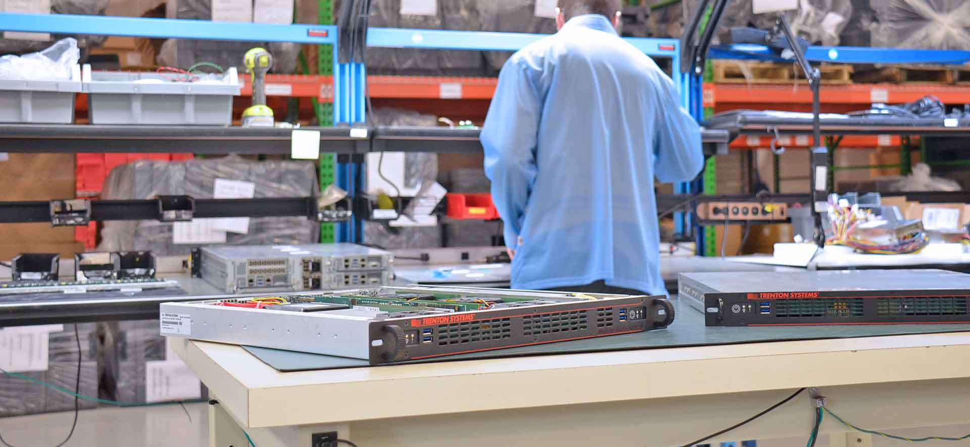 A photo of 1U rugged workstations manufactured by Trenton Systems