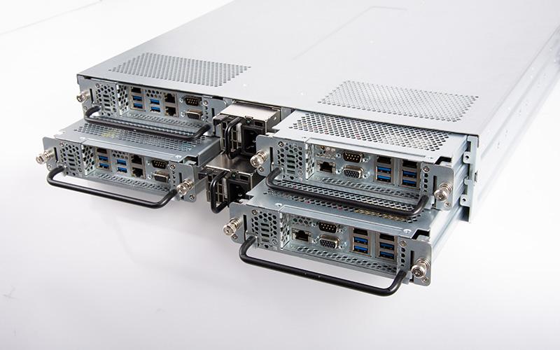 2U Blade Server with removable server blades and redundant power