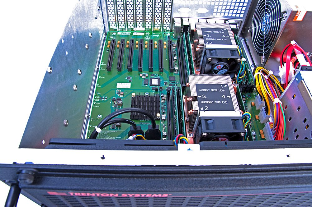 Aerial view of a Trenton Systems 4U server dual Xeon motherboard