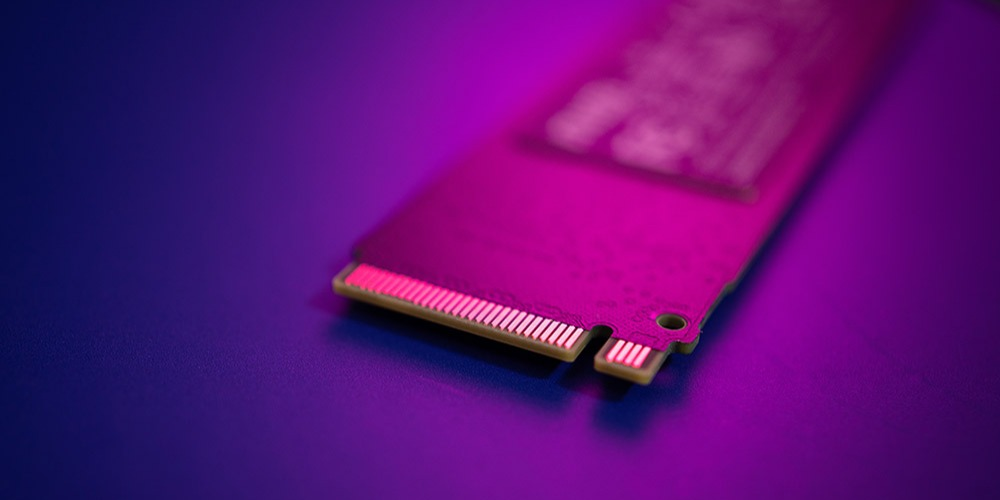 An M.2 NVMe SSD, for used high-speed, PCIe-based reading and writing of data