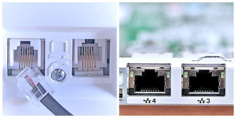 phone jacks and LAN ports