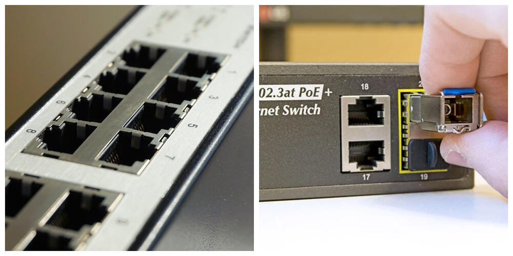 This is a comparison photo of LAN ports and SFP ports.