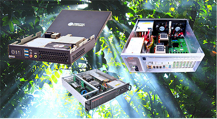 A rugged mini PC and rugged servers beneath a jungle canopy with the sun's rays shining through the leaves of the tall trees