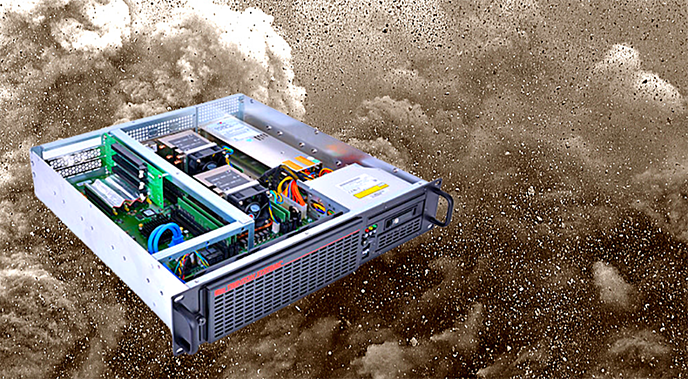 Trenton Systems rugged server graphic in front of dust storm photo