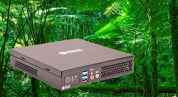 Trenton Systems ION Mini PC graphic in front of a jungle or rainforest background