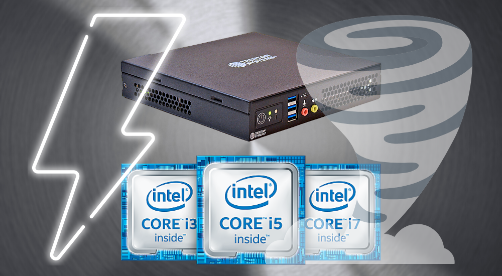 Trenton Systems ION Mini PC graphic placed behind Intel Core processors