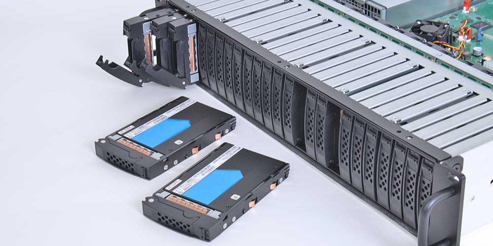 Trenton Systems NVMe SSD JBOF Enclosure populated with 24 U.2 NVMe SSDs