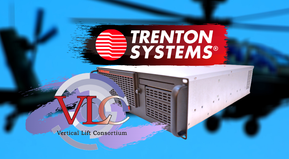Logos for Trenton Systems, Vertical Lift Consortium superimposed over a rugged server and a blurred rotorcraft background