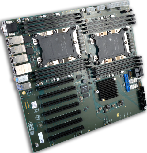 A graphic of a dual-CPU motherboard with numerous PCIe slots