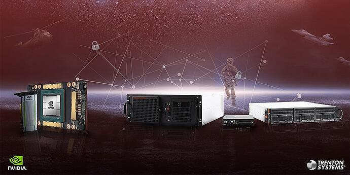 This is a graphic showcasing NVIDIA GPUs and Trenton rugged computers superimposed over a military/space background. NVIDIA's and Trenton Systems' logos are also pictured.