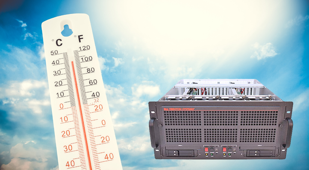 MIL-STD-810 5U Rugged Server beneath scorching sun and next to thermometer