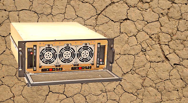 Trenton Systems 4U MIL-STD-810 rugged server on cracked ground