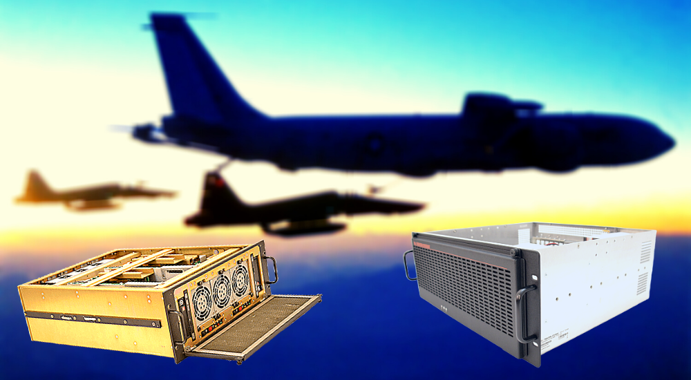 Two Trenton Systems rugged servers superimposed over a photo of aircraft flying against the sunset