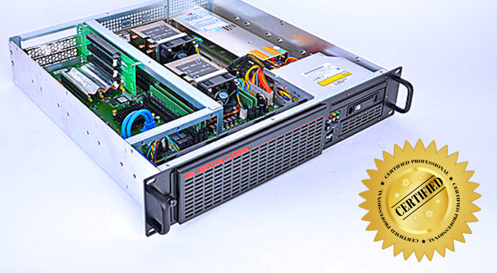 "A Trenton Systems server next to a ""CERTIFIED"" graphic"