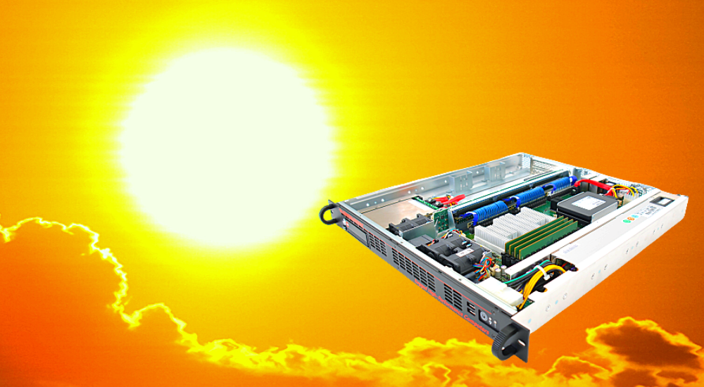 Trenton Systems rugged server superimposed over a sun-and-clouds background