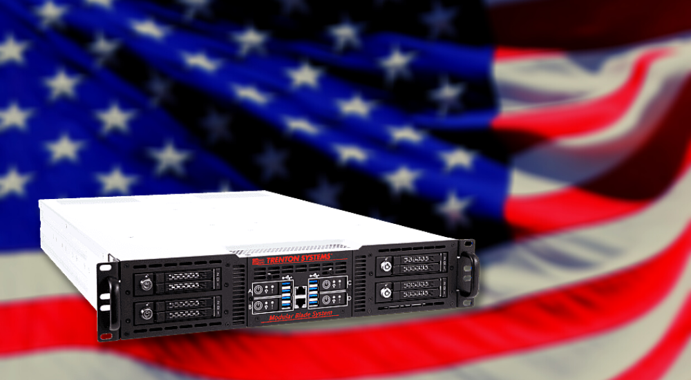 A made-in-USA modular blade rugged server superimposed over an American flag background