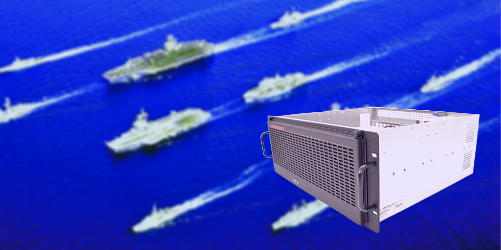 A Trenton Systems rugged server superimposed over a fleet of U.S. Navy ships