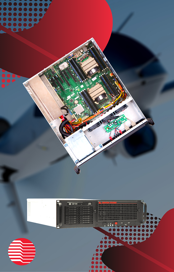 Trenton Systems' 3U rugged servers, more specifically, the internal view of a TRS3501 rugged server, a popular 3U rugged server manufactured by Trenton