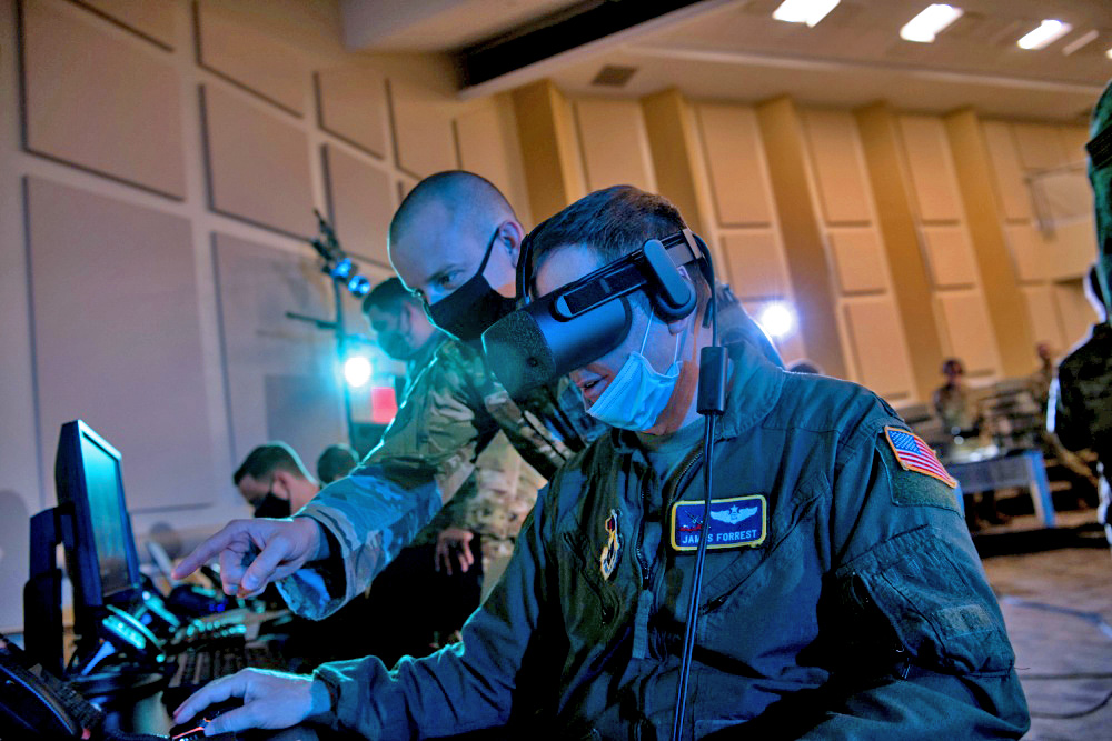Operators during an exercise of the Air Force's Advanced Battle Management System (ABMS) in fall 2020