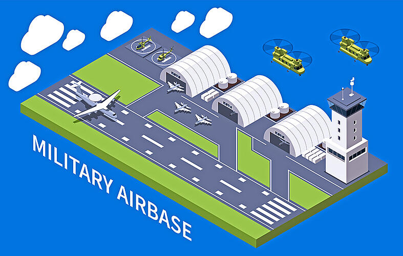 A rendering of a military air base