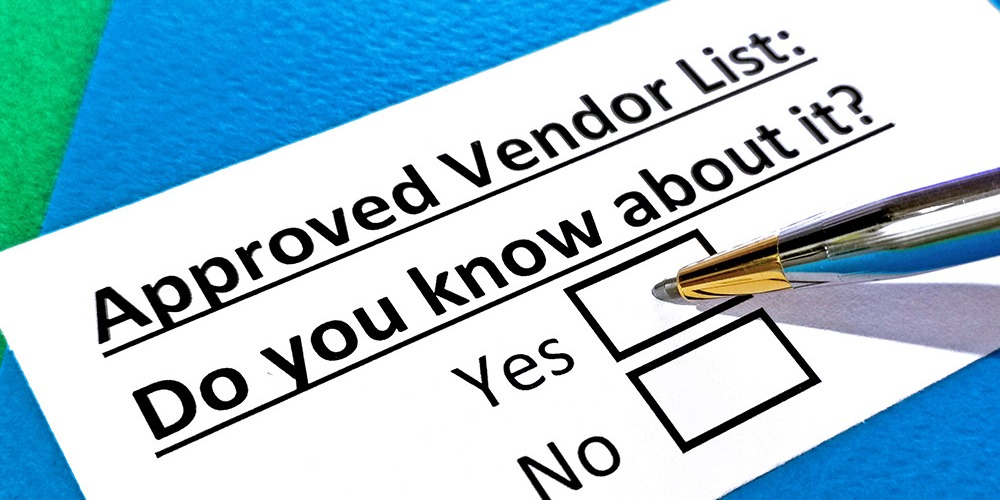 """This is a graphic showcasing a pen next to a checkbox on a piece of paper labeled """"Approved Vendor List (AVL)."""""""