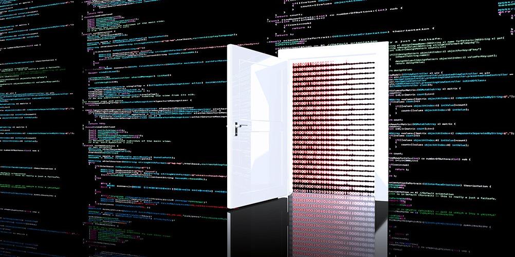 A door opening amid a sea of computer code