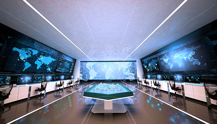 A command and control center concept, with digital maps and communications technology to inform command processes