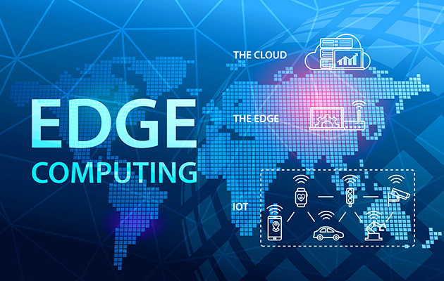 A graphic explaining edge computing's place in the middle, or at the edge, of the conventional cloud computing and internet of things (IoT) architecture