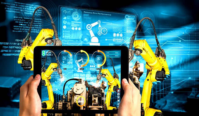 A graphically altered photo of a person assessing the state of a machine with an iPad, to showcase how edge computing can assist with industry 4.0 and industrial internet of things (IIoT) processes