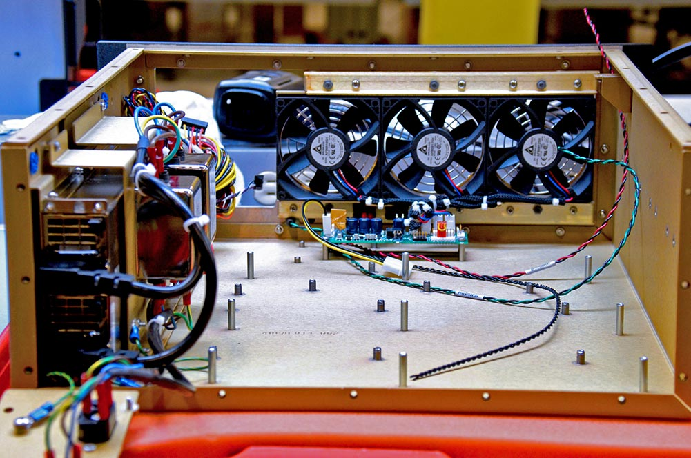 Interior view of TMS4711 system fans and power supply
