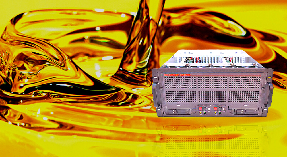 Trenton Systems 5U Rugged Server superimposed over an oil splash