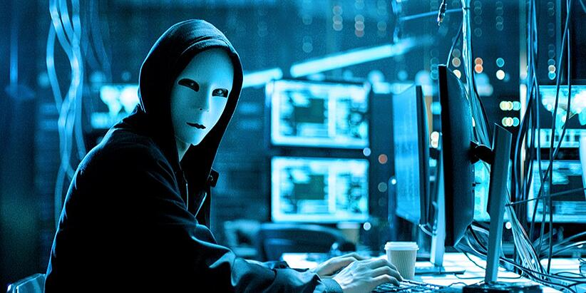 A hacker with a white face mask physically tampers with mission-critical servers