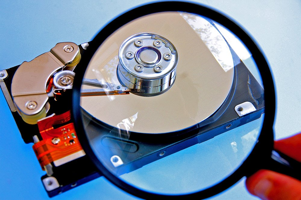 hard drive magnifying glass