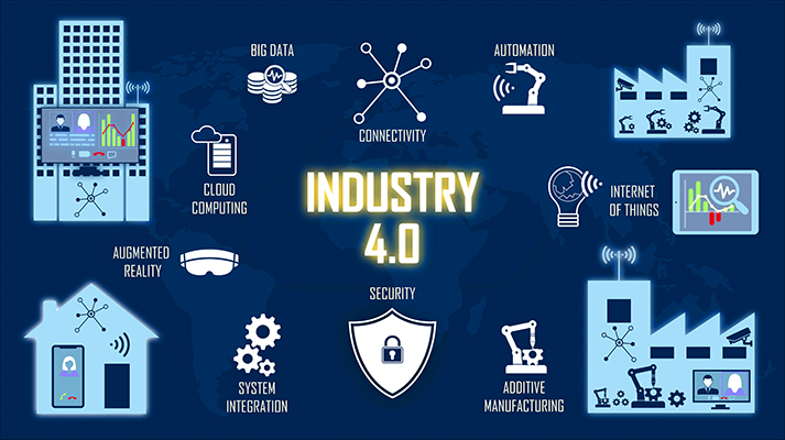 The concept of industry 4.0 is explained in a helpful graphic that outlines the nine pillars of industry 4.0, including cloud computing, augmented reality, and additive manufacturing