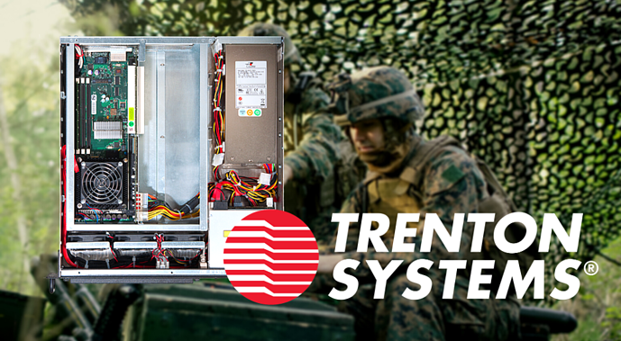 This is a photo of a Trenton Systems 2U server and Trenton Systems logo superimposed over a military satellite communications background.