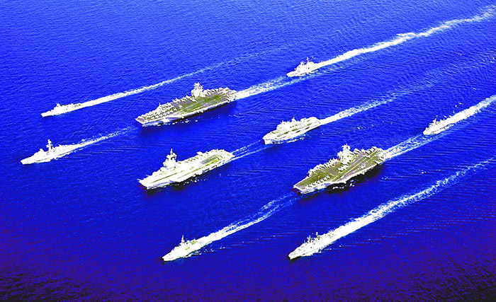 Navy ships in formation