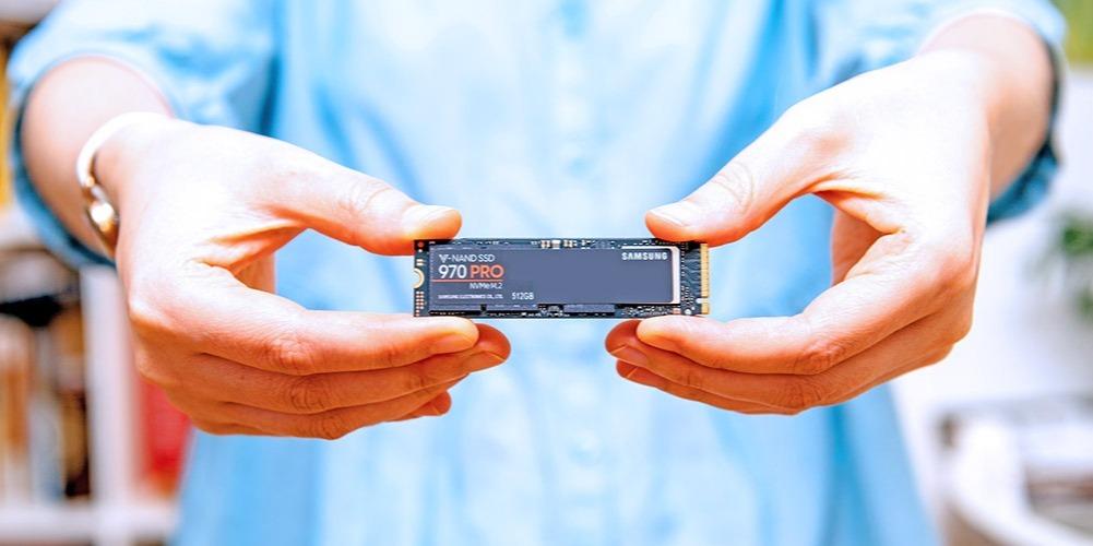 A closeup of a Samsung 970 PRO M.2 NVMe SSD