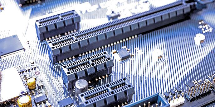 A photo of PCIe slots on a motherboard