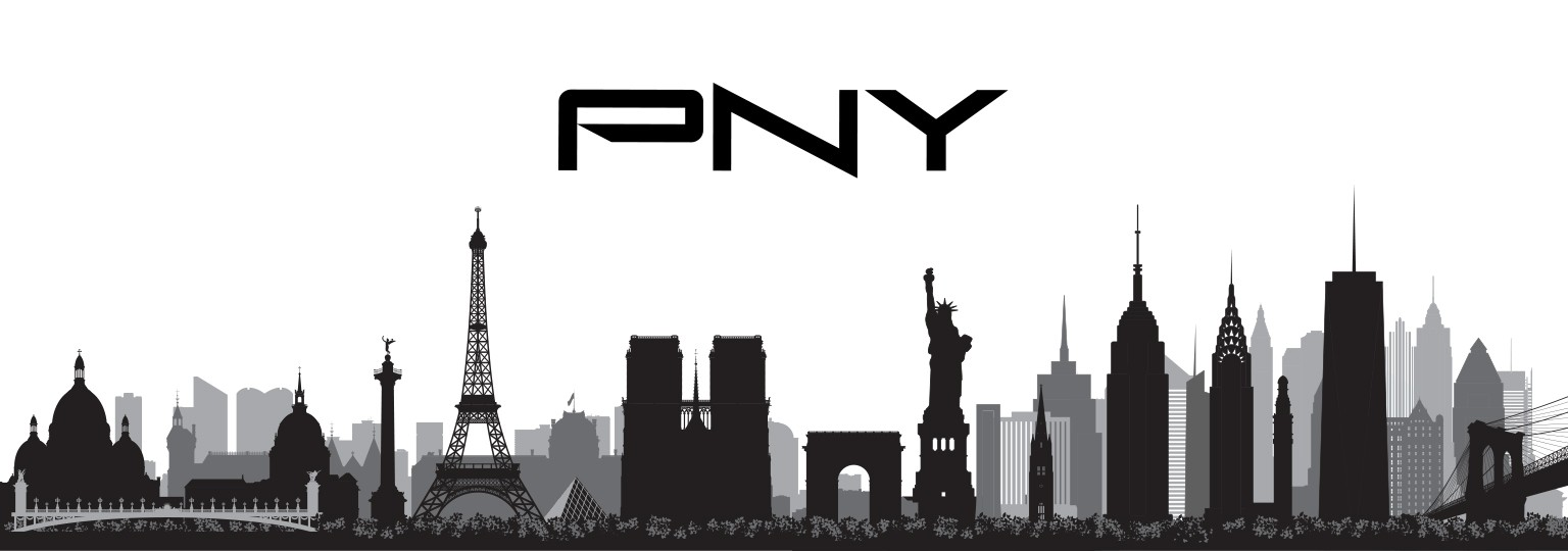 PNY Technologies' logo superimposed over major world landmarks, such as the Statue of Liberty and Eiffel Tower