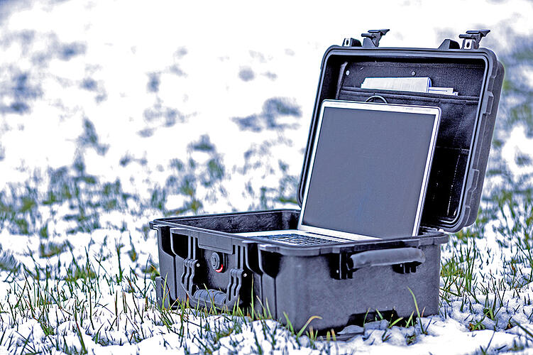 Rugged laptop in extreme snowy environment