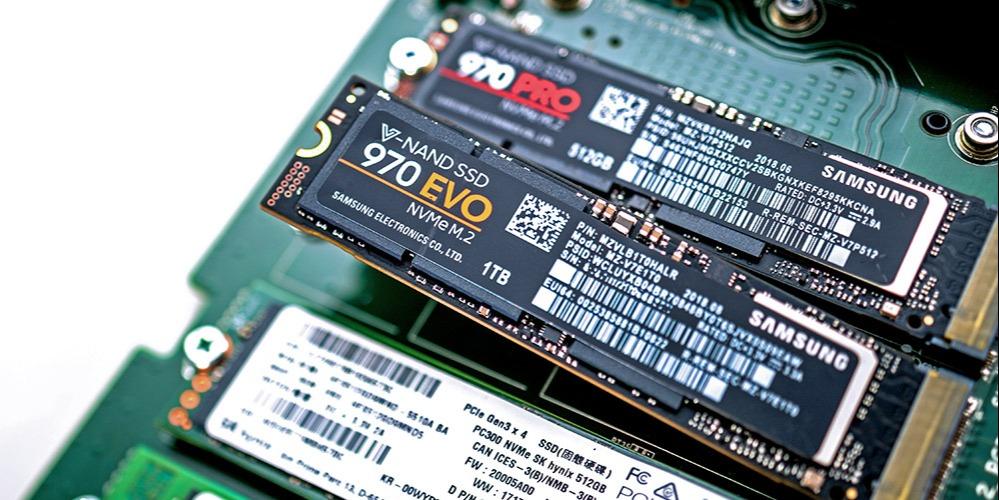 A closeup of a Samsung 970 EVO M.2 NVMe SSD