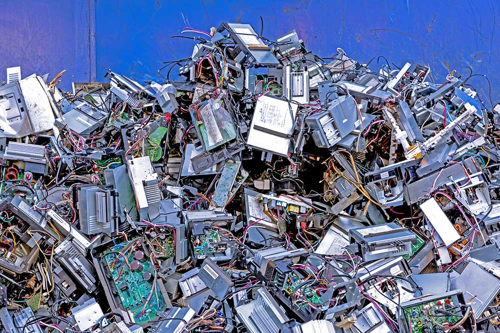 A pile of scrap electronics