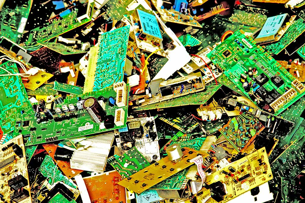 A pile of scrapped circuit boards