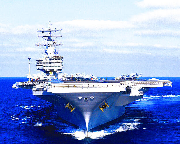 A United States Navy aircraft carrier