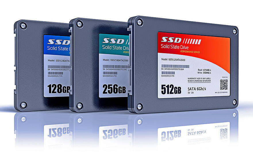A 128GB, 256GB and 512GB solid-state drive
