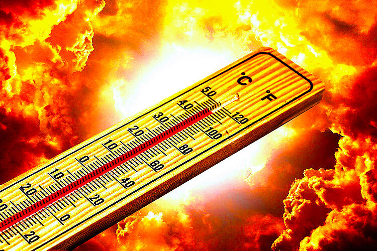 A thermometer showing high temperatures superimposed over a bright, shining sun and sky