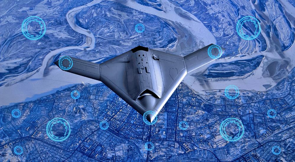 A UAV's sensors interface with edge servers and IoT sensors below, midflight