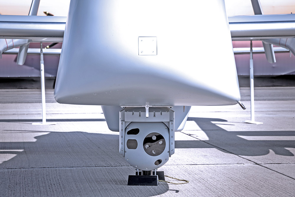 A multi-sensor surveillance camera pod on a military drone, or UAV