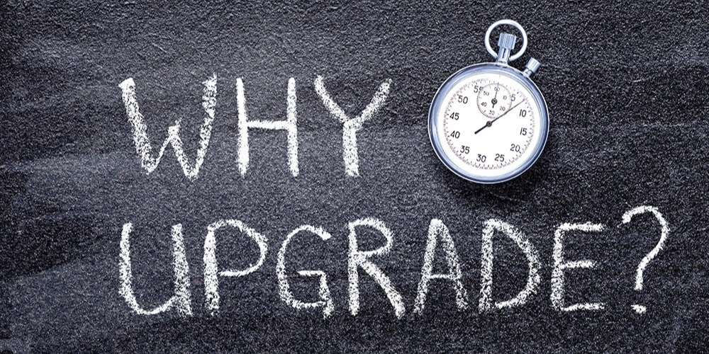 """This is a black-and-white graphic with a stopwatch that reads, """"Why upgrade?"""""""