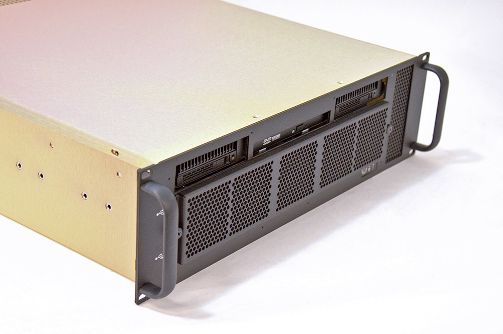 This is a photo of the 3U BAM Server with a gold chassis.